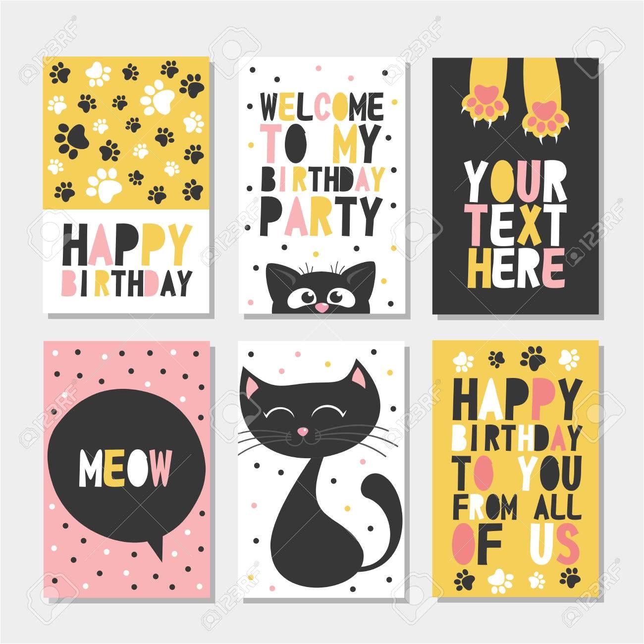 69042862 set von 6 nette kreative karten vorlagen mit happy birthday thema design hand gezeichnete karte f c3 bcr gebur jpg