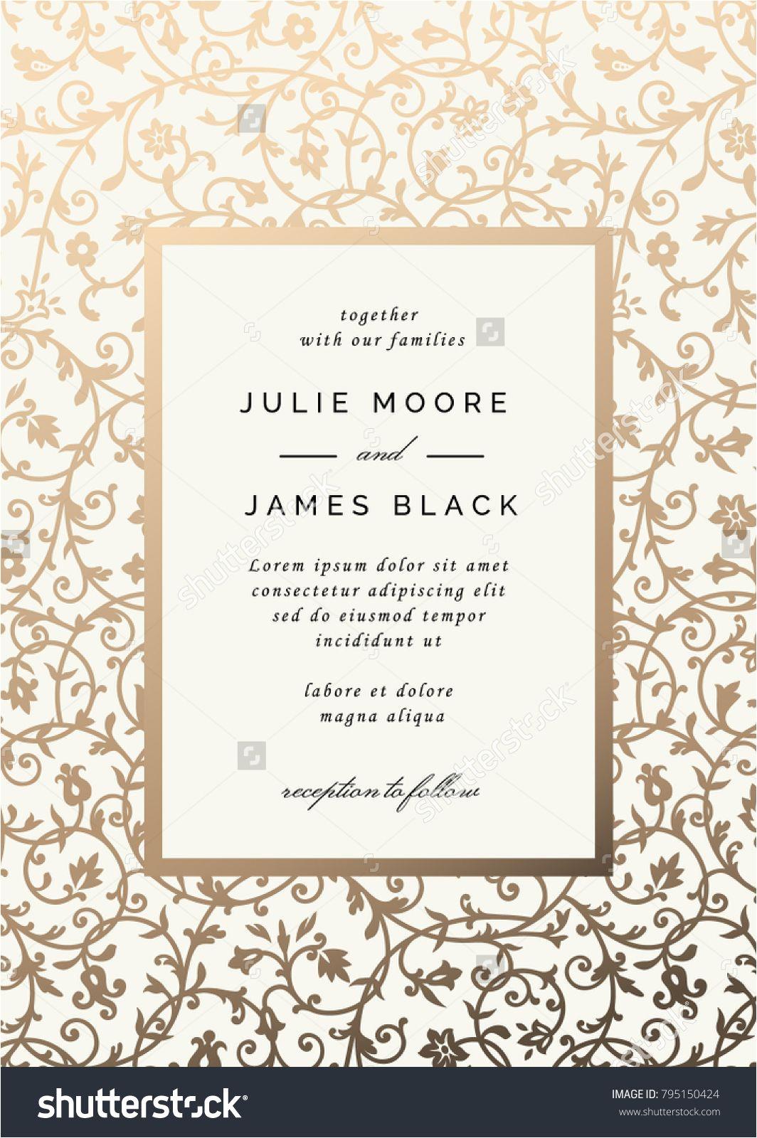 Card Design for Wedding with Price Vintage Wedding Invitation Template with Golden Floral Backg