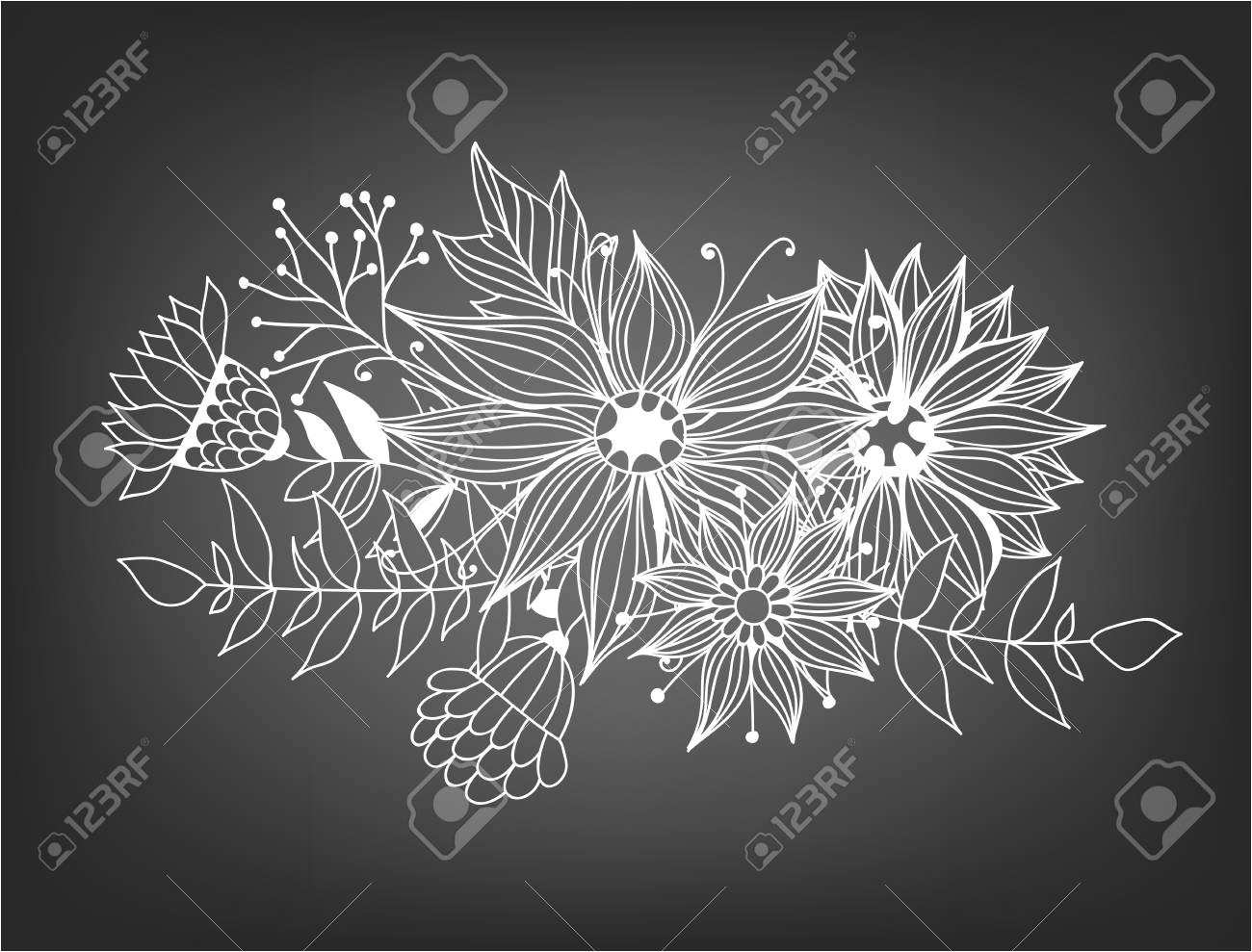 77399765 doodle bouquet od flowers and leaves on chalkboard background template design for invitations cards jpg