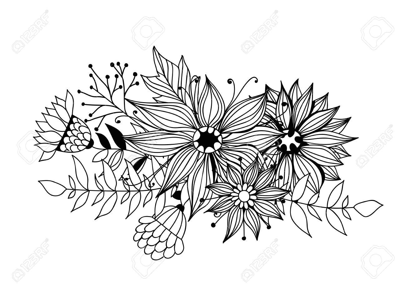 77426760 doodle bouquet od flowers and leaves on white background template design for invitations cards and m jpg