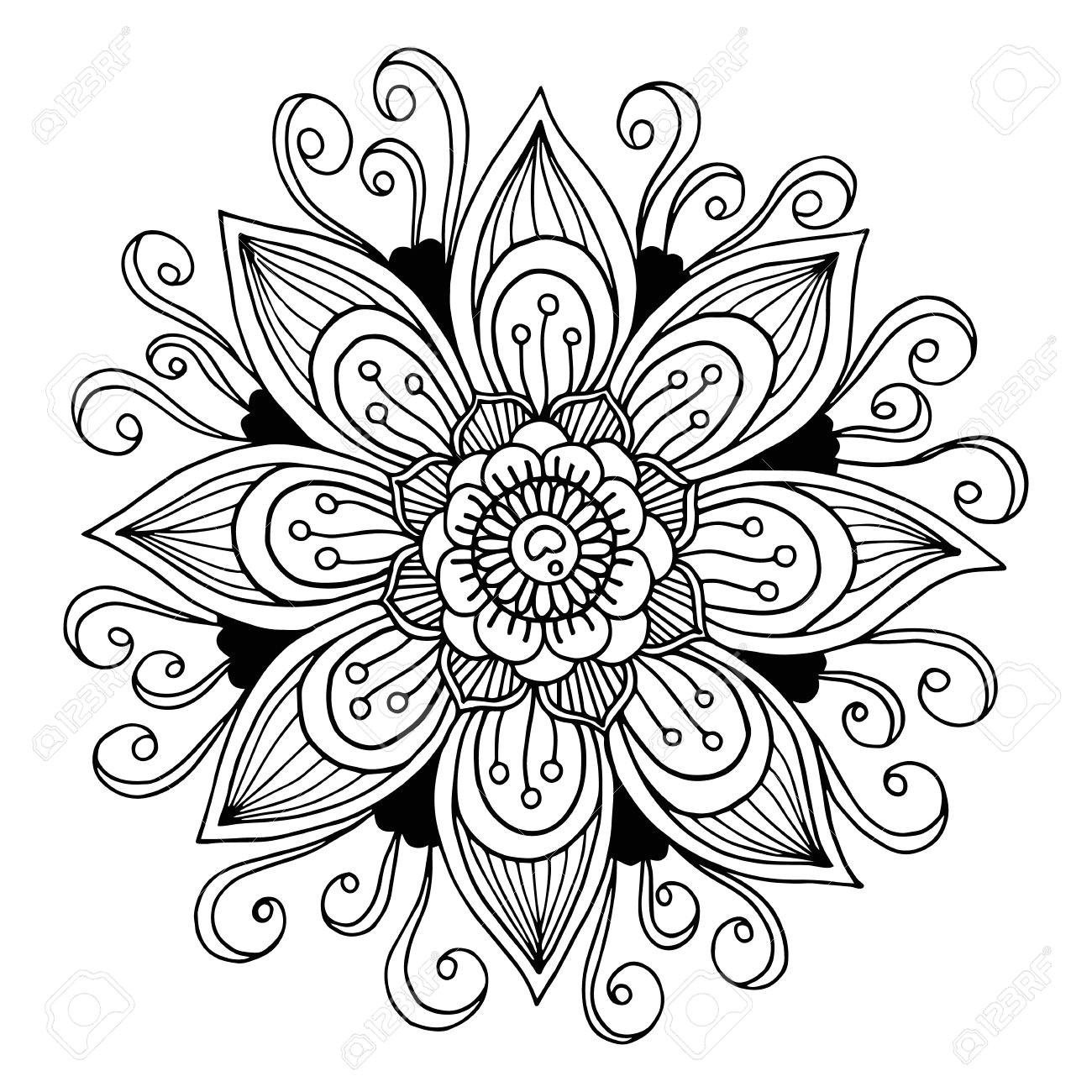 39792524 schwarze und wei c3 9fe hand gezeichnet blume hintergrund oder element f c3 bcr die karte textil poster einladung od jpg