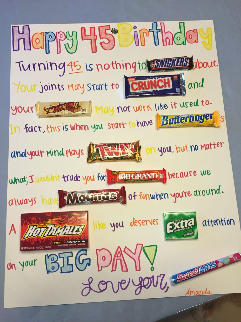 Card for Best Friend Birthday Candy Birthday Card Candy Birthday Cards Candy Bar