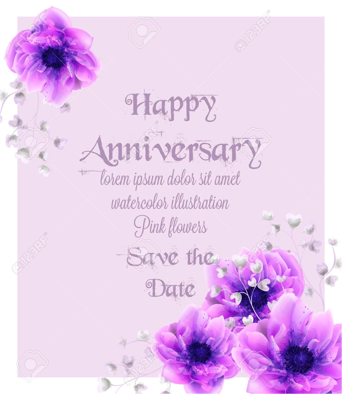 114412050 happy anniversary card with pink flowers watercolor vector beautiful vintage pastel colors floral de jpg