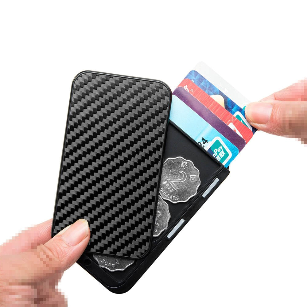 maideduod new style card holder carbon fiber mini rfid wallet slim credit card id bank business jpg