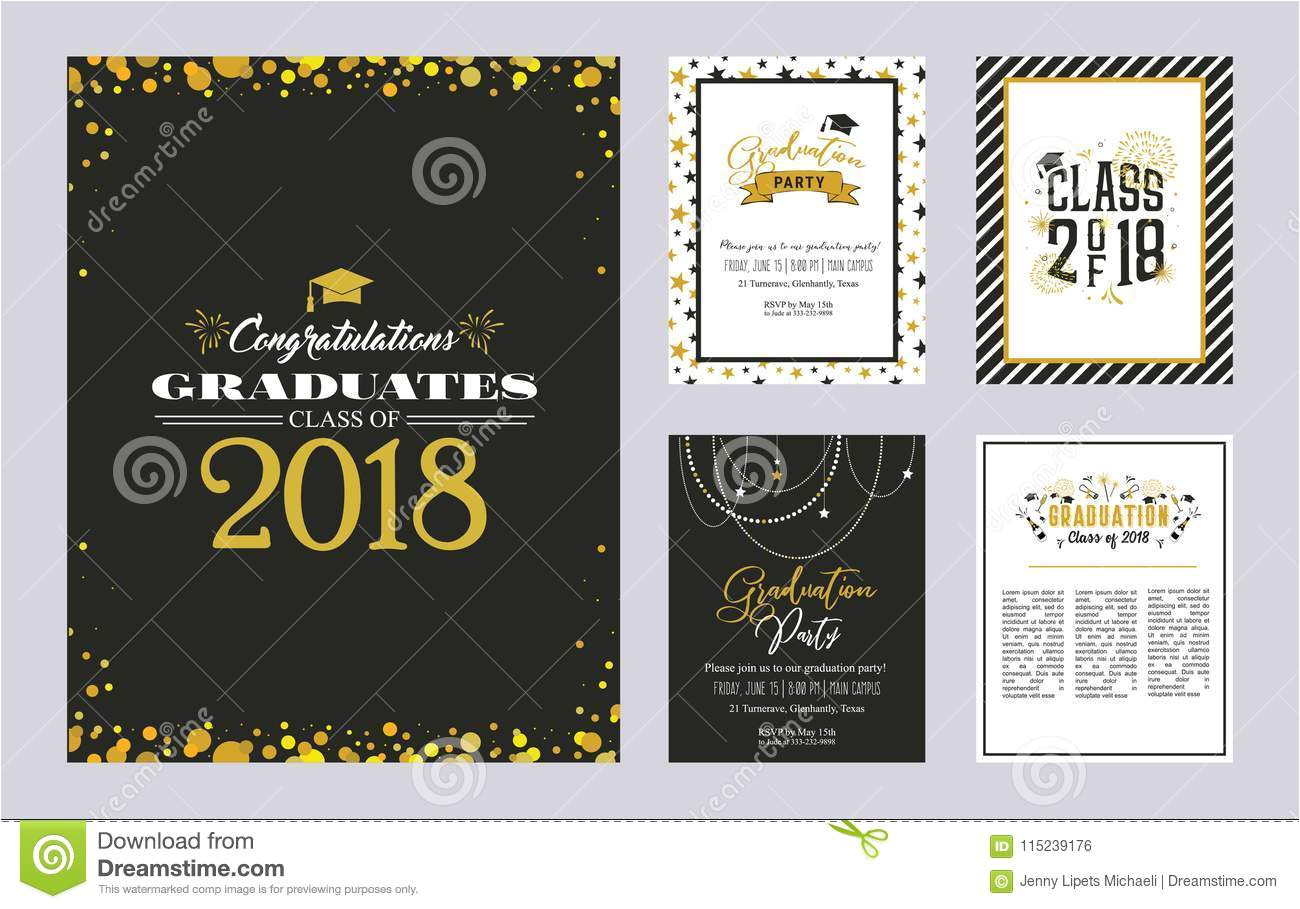 graduation class greeting card invitation template set vector party invitation grad poster graduation class greeting 115239176 jpg