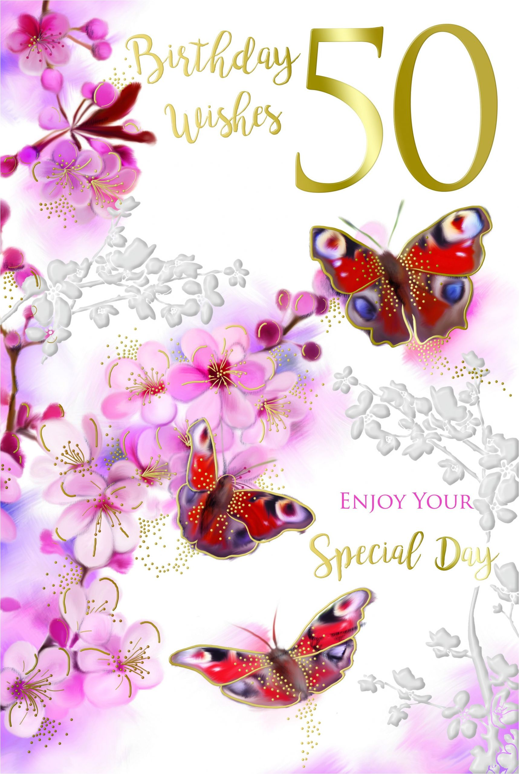 50th 50 special day bright flowers butterflies design happy birthday card jpg