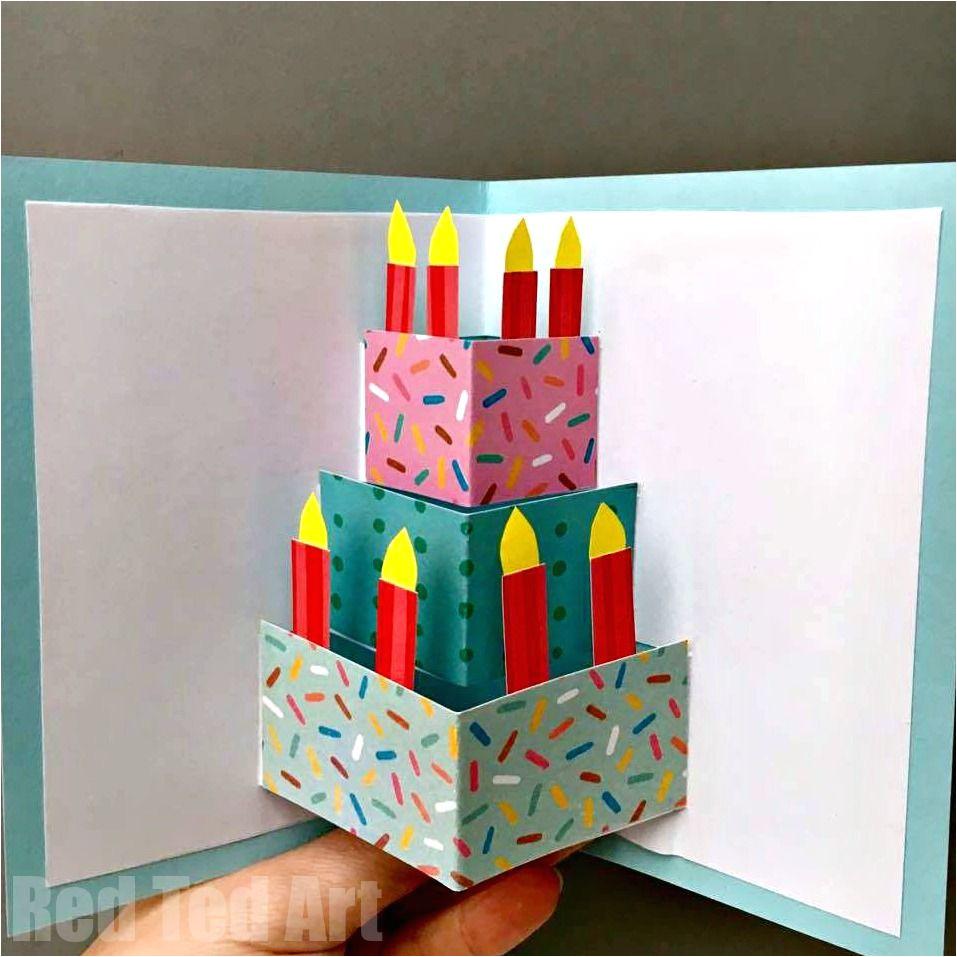Card Pop Up Birthday Cake Easy Pop Up Birthday Card Diy with Images Kartki