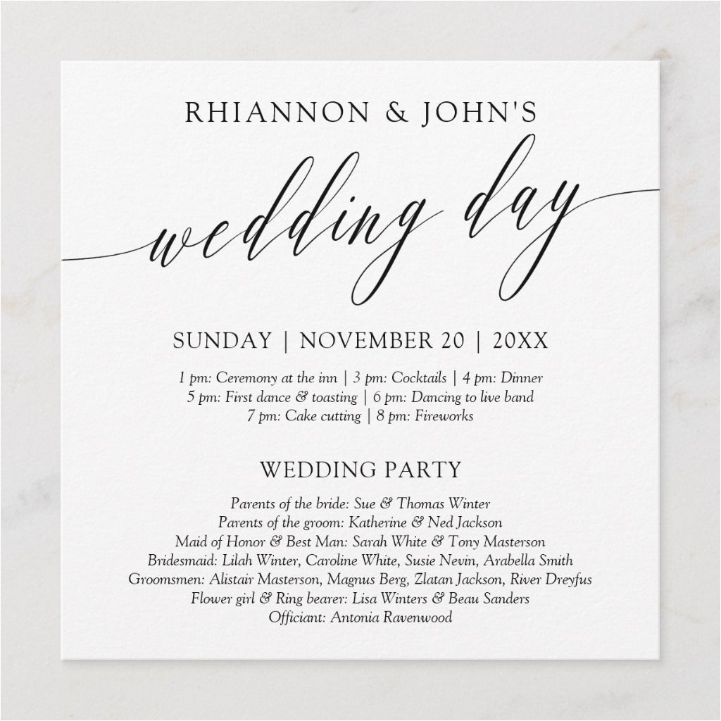 Card to Parents On Wedding Day Delicate Calligraphy Wedding Day Program In 2020 Wedding