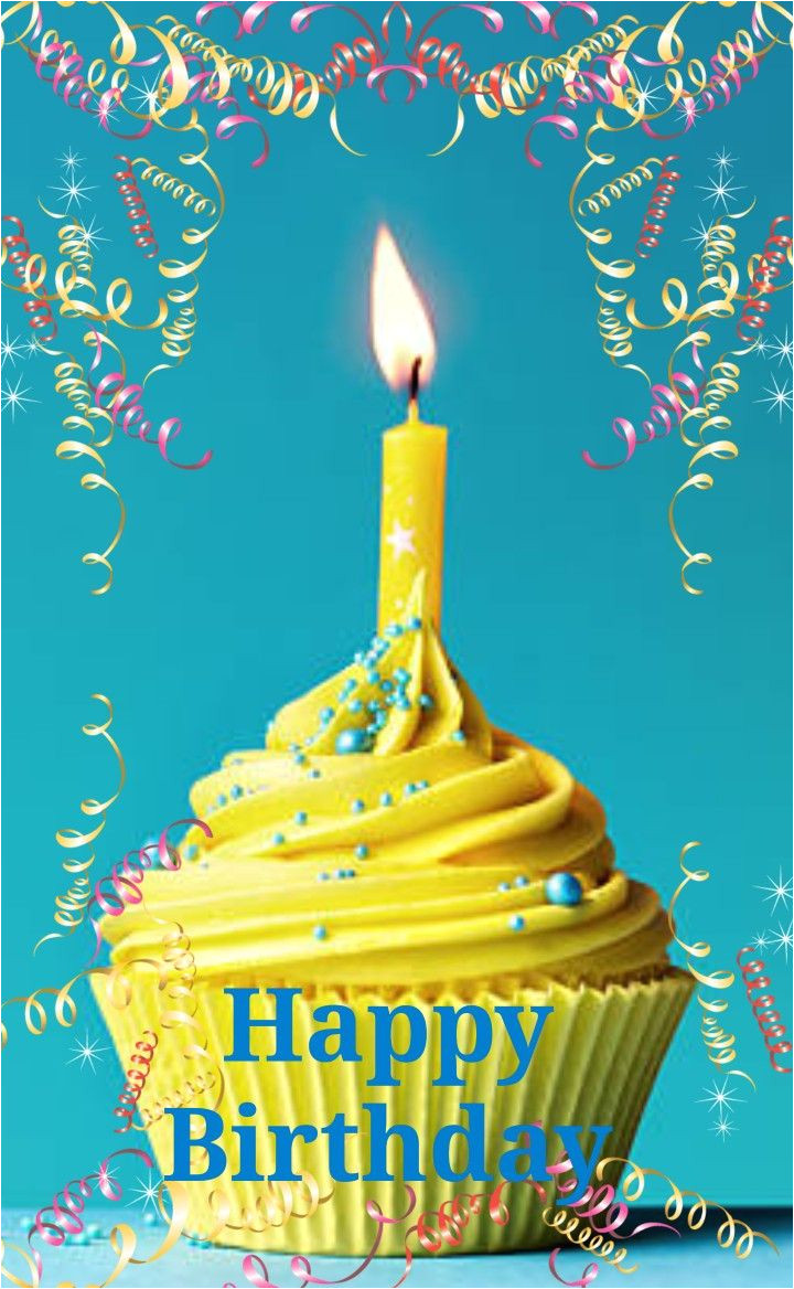 Card to Say Happy Birthday Happy Birthday Greeting Yellow Cupcake W Candle with Images