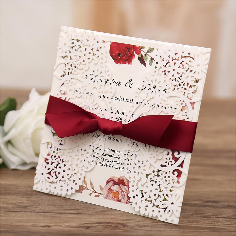 white gatefold laser cut engagement and weddding invitation card with red ribbon cw4514 6 lrg jpg