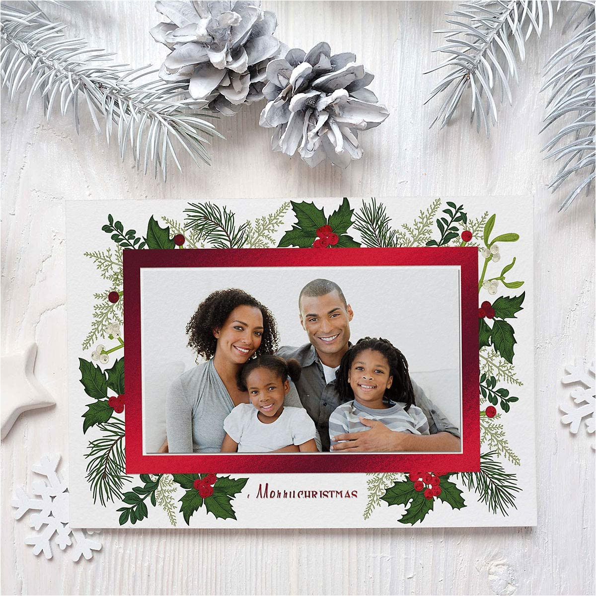 Christmas Card Inserts 6 X 6 Deluxe Christmas Card Holly Photo Frames Red Foil Set Of