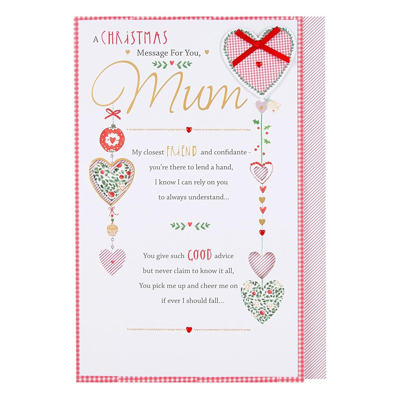 Christmas Card Verses for Mum Hallmark Mum Christmas Card Thank You Large