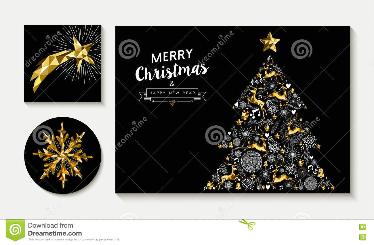 gold christmas pine tree card design template set merry greeting layout designs low poly reindeer stars holiday 74201536 jpg