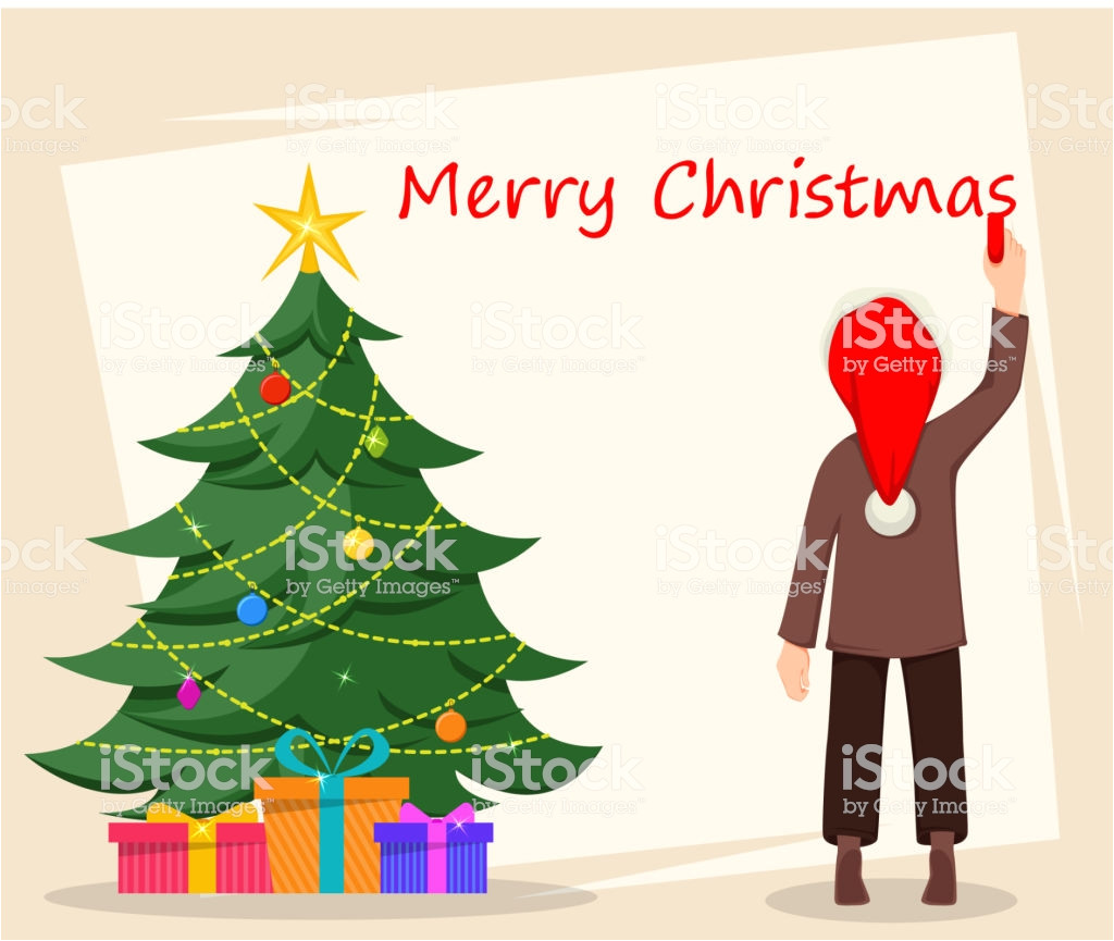 merry christmas greeting card poster or banner vector id1055556318