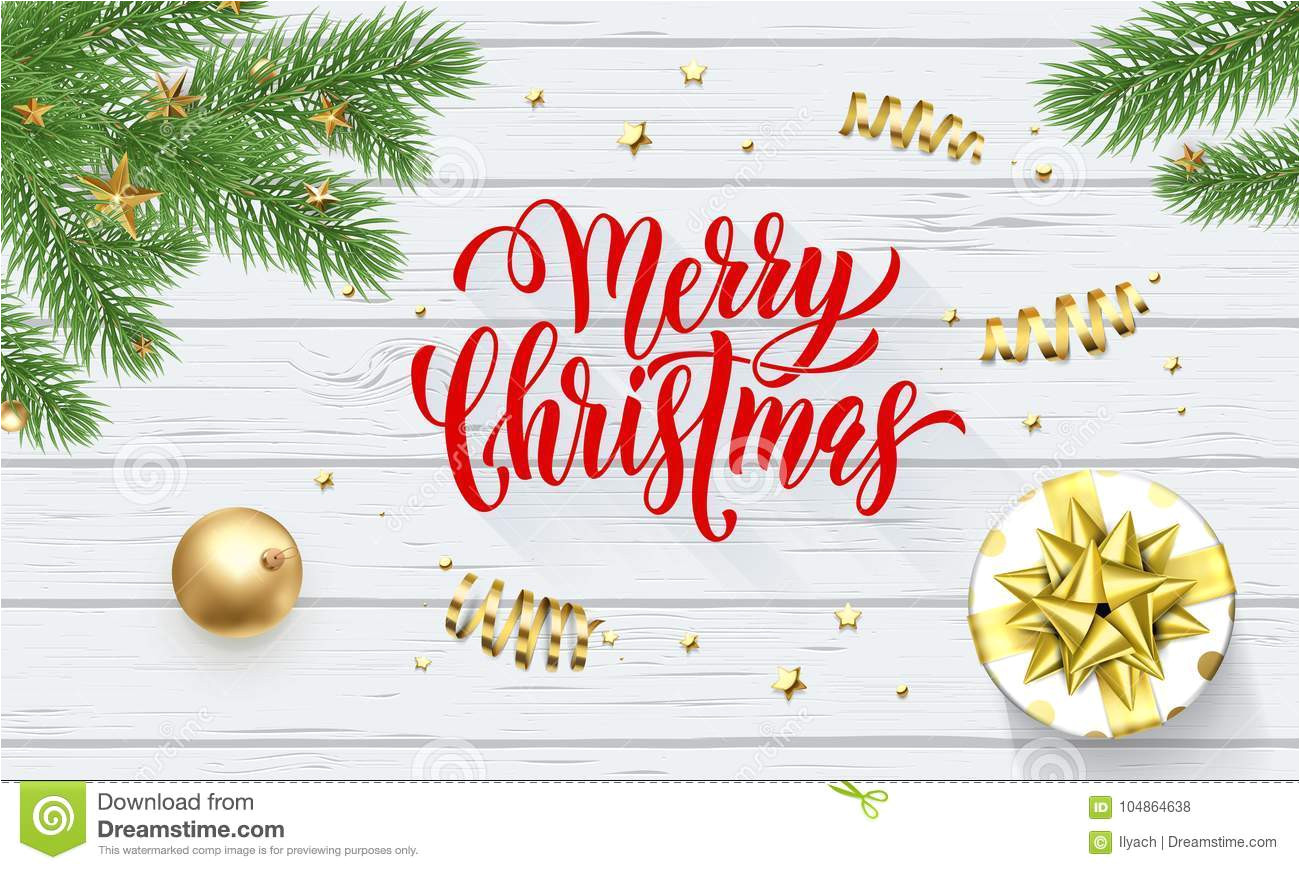 merry christmas holiday golden decoration xmas tree calligraphy font greeting card white wooden background vector chri 104864638 jpg