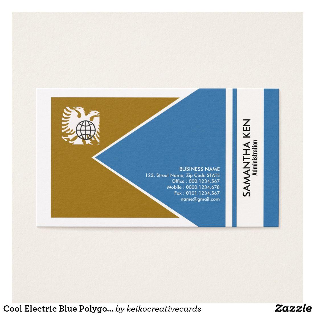 Creative Business Card Job Titles Cool Electric Blue Polygon Admin Business Card Zazzle Com
