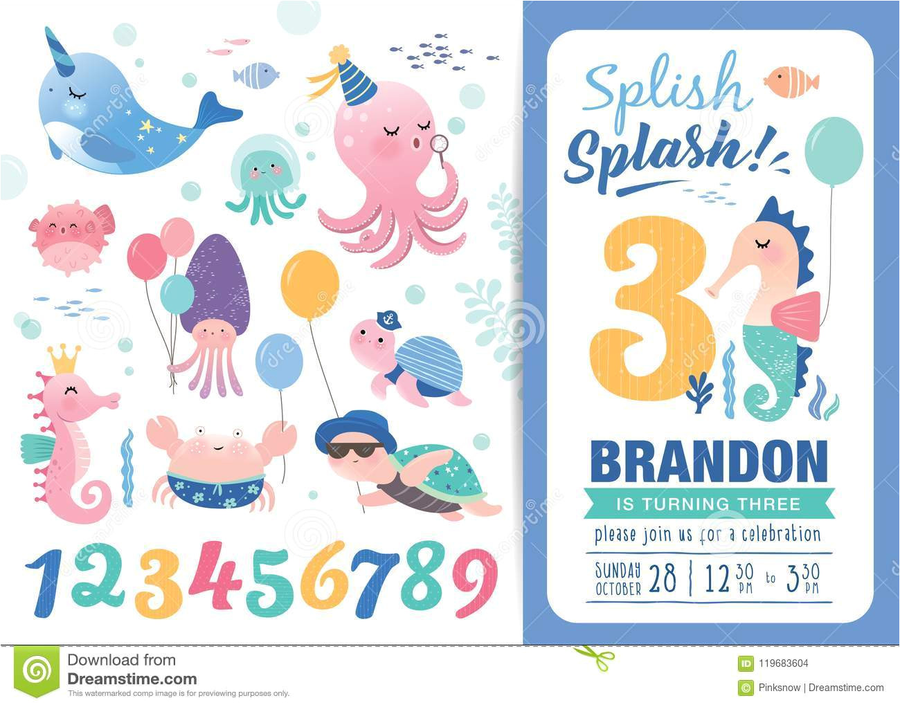 birthday party invitation card template cute marine life cartoon character birthday anniversary numbers birthday party 119683604 jpg