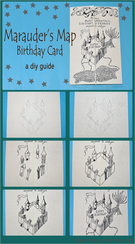 Diy Harry Potter Birthday Card Marauder S Map Birthday Card Birthday Card Icon Map