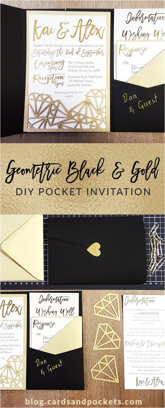 Diy Invitation Card for Debut My Diy Story Geometric Black Gold Foil Pocket Invitation