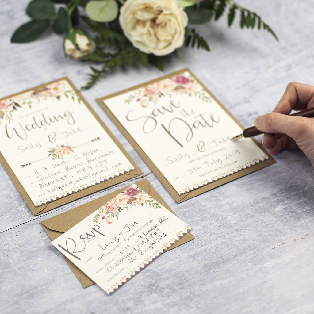 original boho floral write your own wedding invitation set jpg