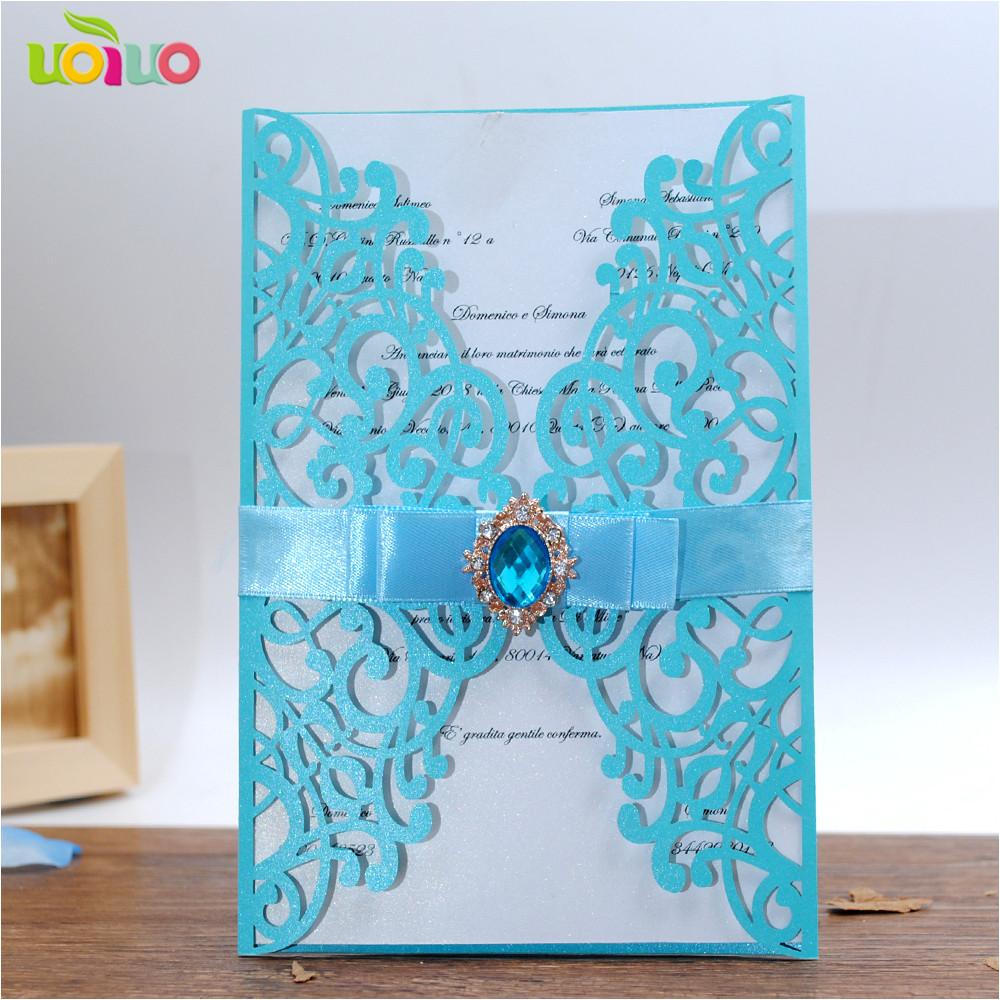 diy 25set free customize inc263 sky blue laser cut wedding invitation card tied bow big rhinestone jpg
