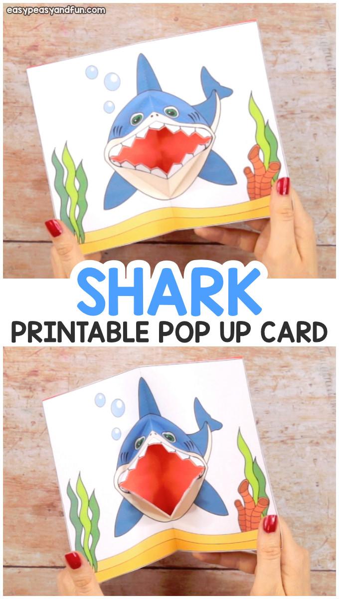 Diy Unicorn Pop Up Card Shark Pop Up Card Pop Up Card Templates Shark Week Crafts