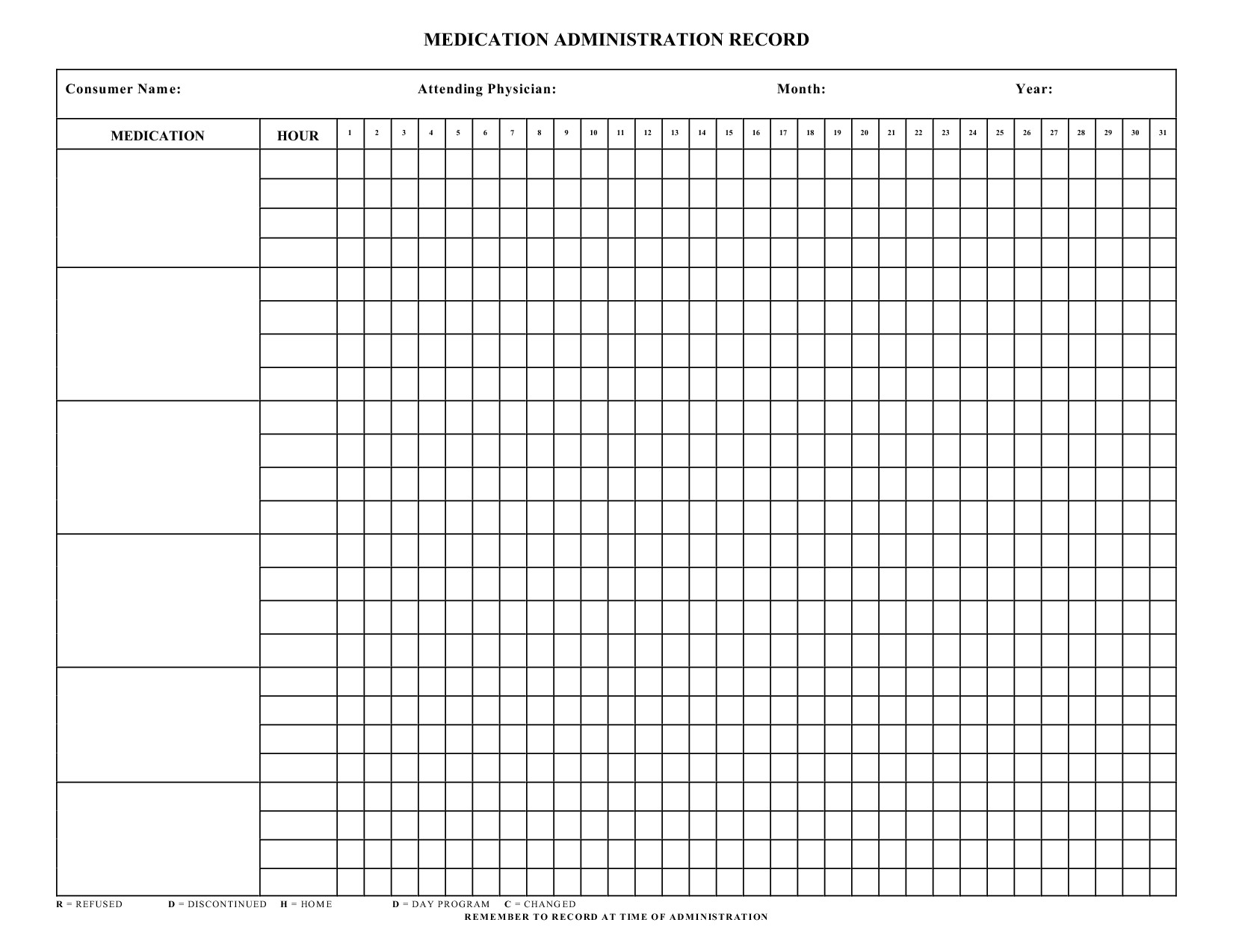 Does Blank Card Work with Pills Blank Medication Administration Record Template with Images