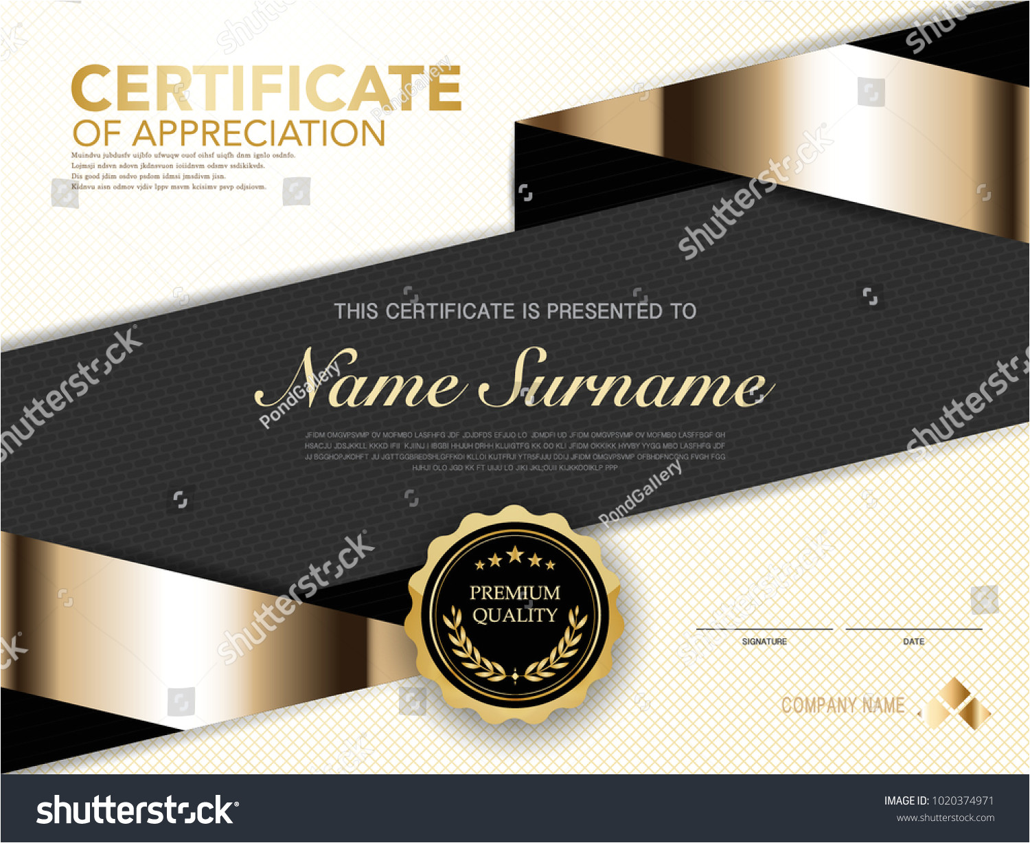 stock vector diploma certificate template black and gold color with luxury and modern style vector image 1020374971 jpg