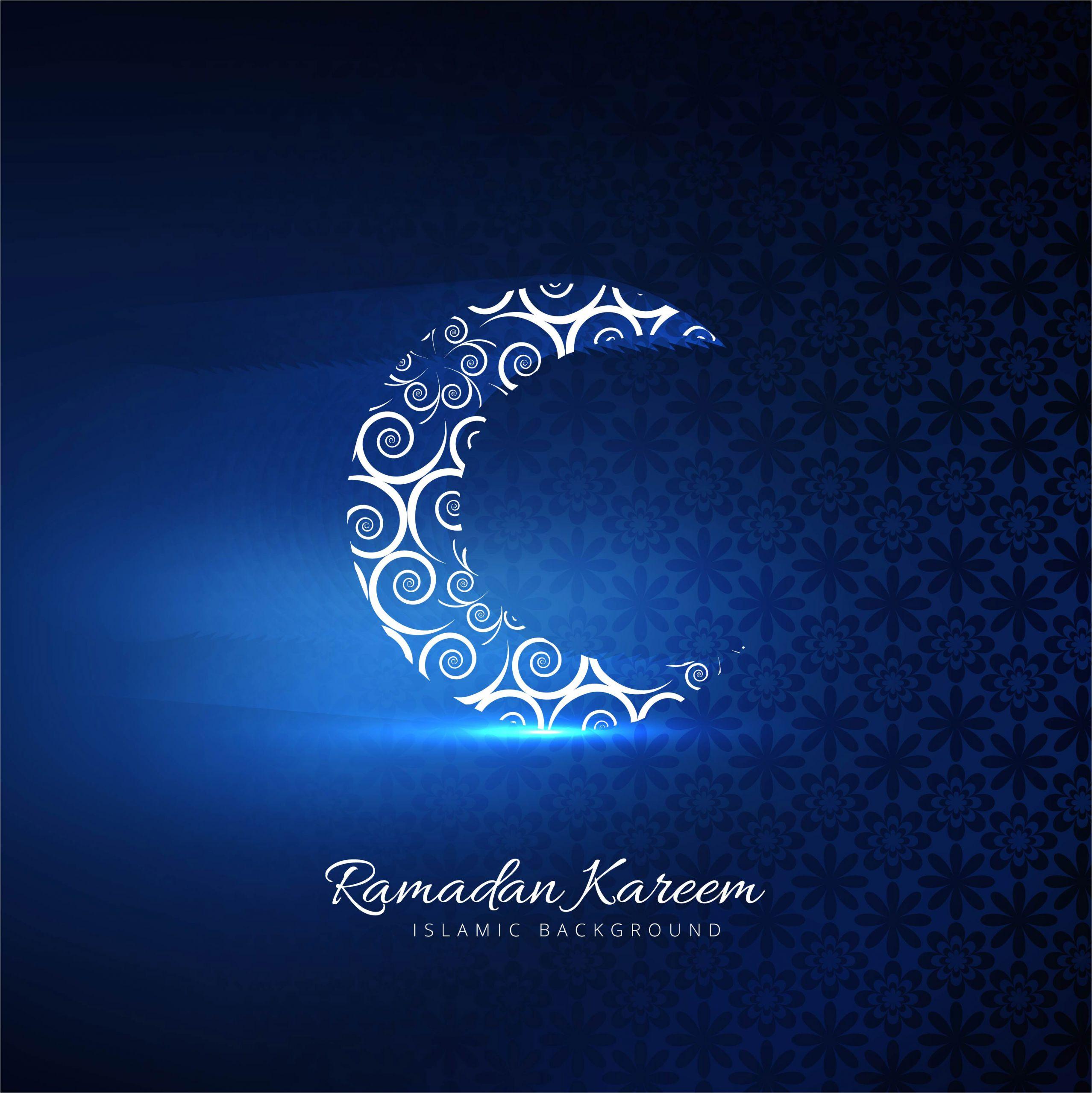 beautiful card ramadan kareem with shiny moon blue background vector jpg