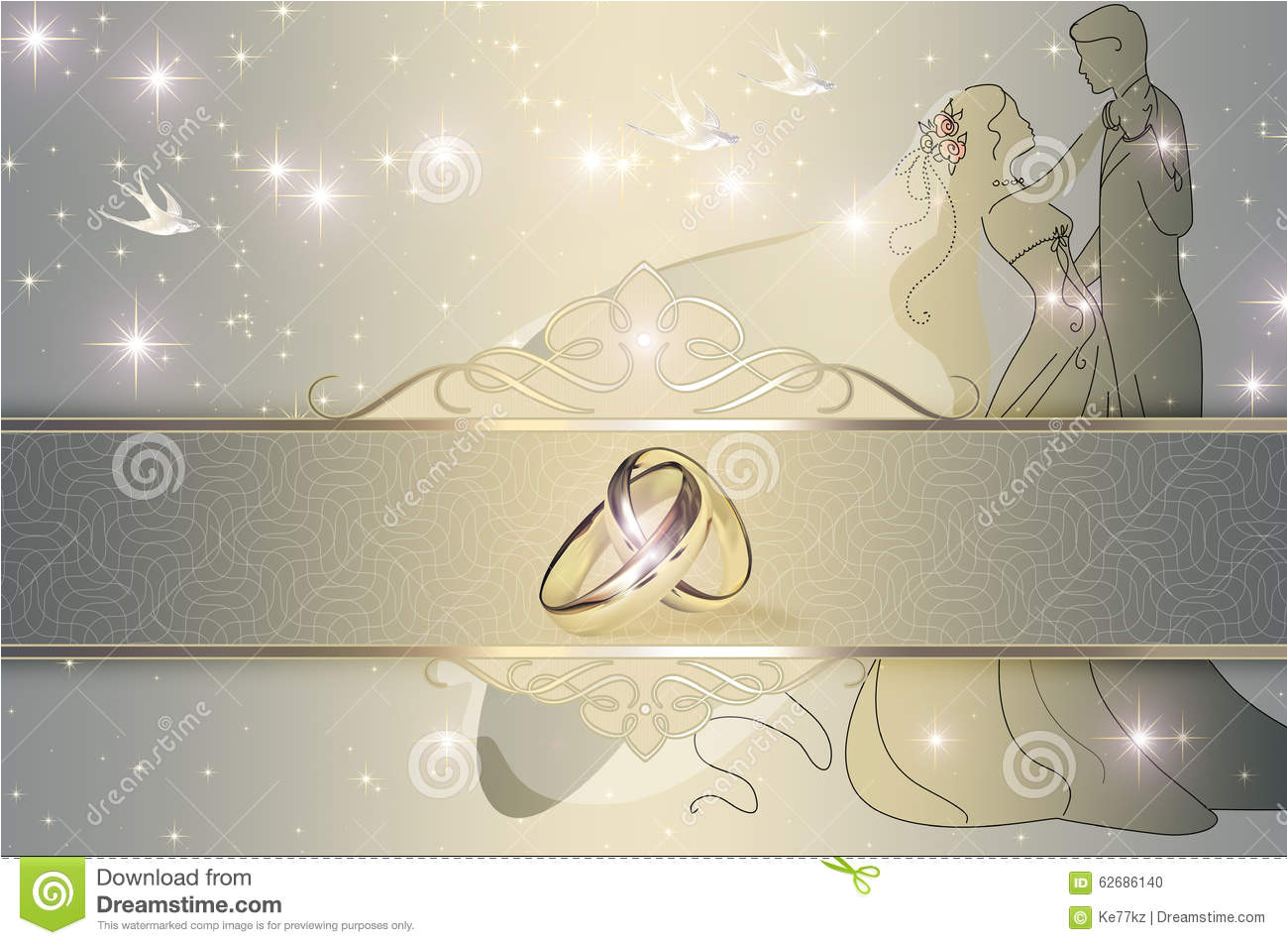 wedding invitation card design decorative background gold rings template 62686140 jpg