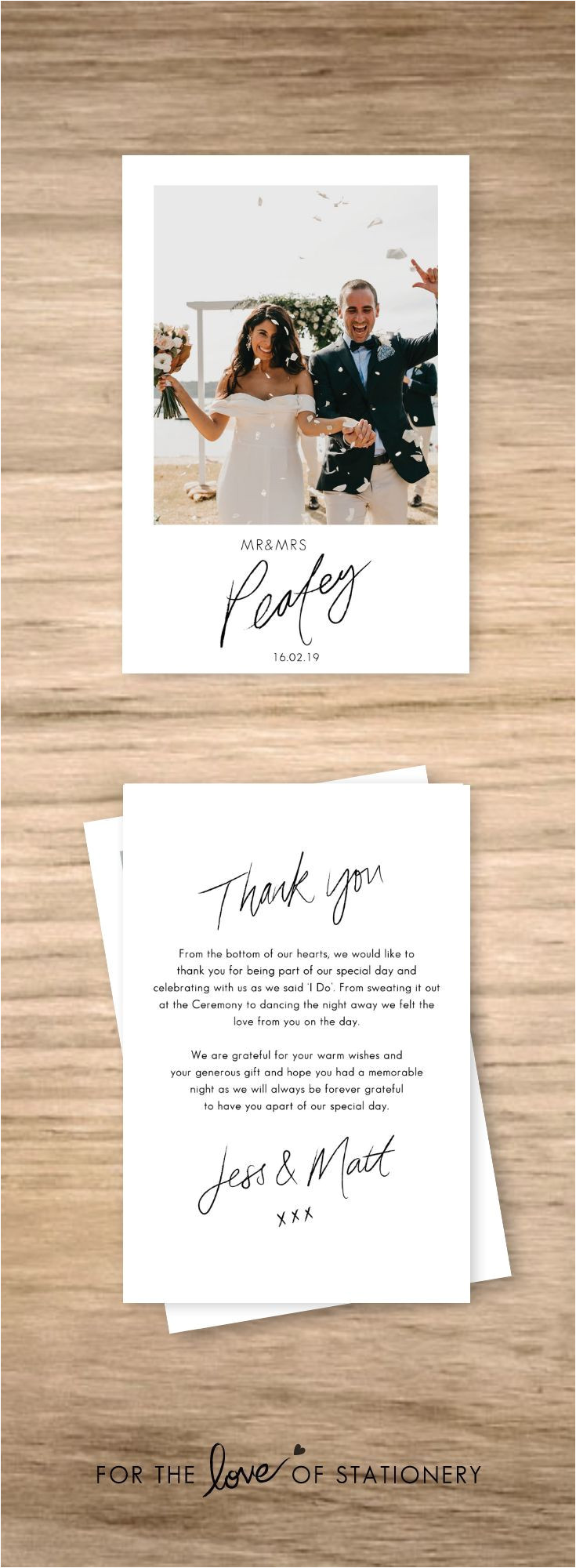 Example Thank You Card Wedding Personalised Wedding Thank You Cards with Photos with
