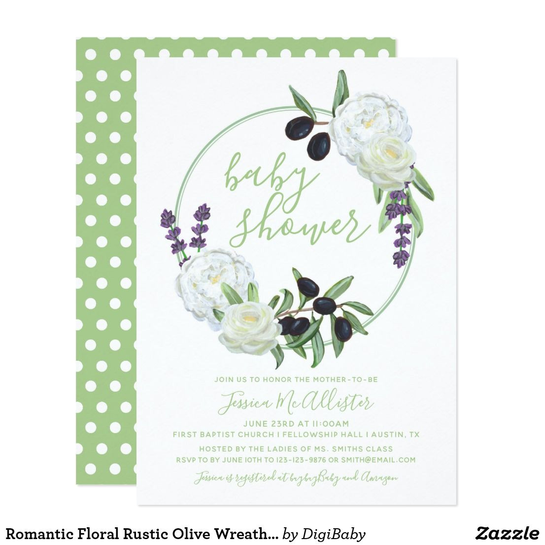 Flower Card for New Baby Romantic Floral Rustic Olive Wreath Baby Shower Card