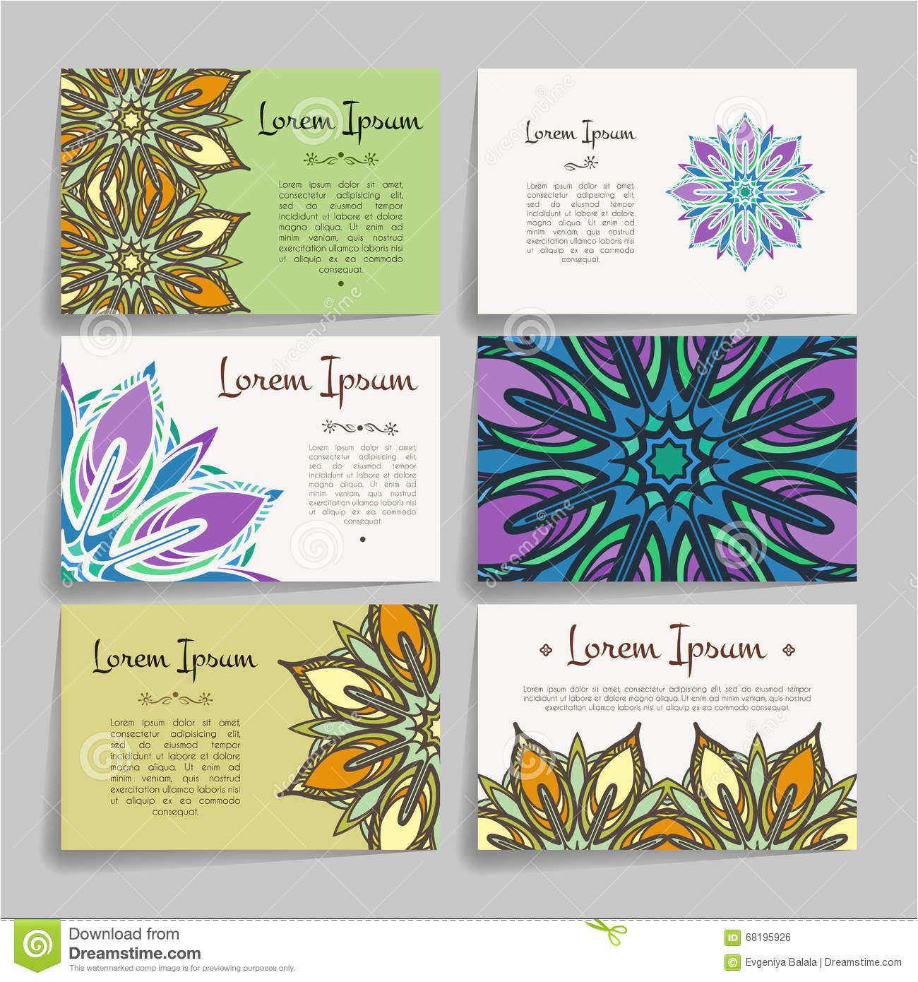 set vector design templates business card floral circle ornament mandala style brochures random colorful vintage frames 68195926 jpg