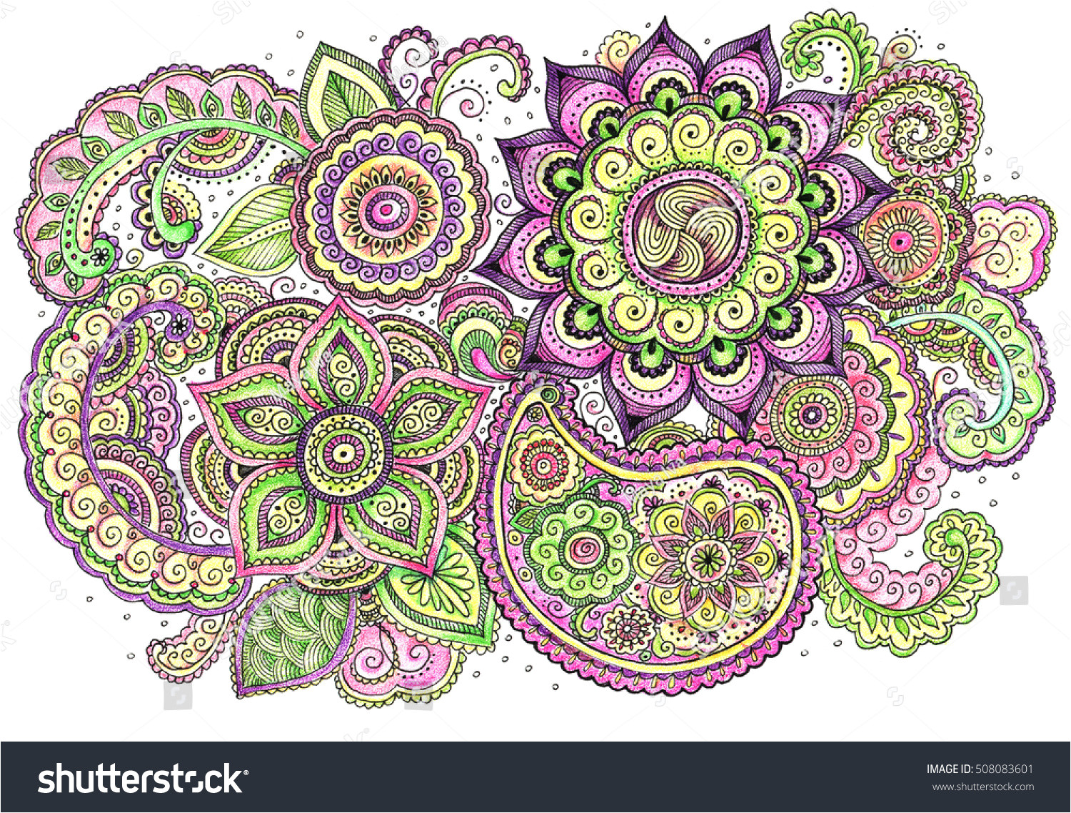 stock photo watercolor vintage floral illustration with detailed hand drawn zentangle boho style banner 508083601 jpg