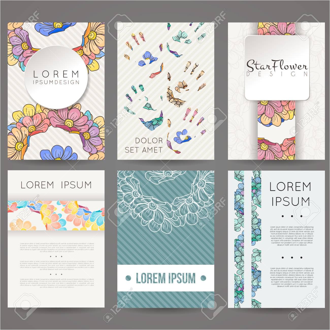 70570764 set of vector design templates brochures in random flower style vintage frames and backgrounds busin jpg