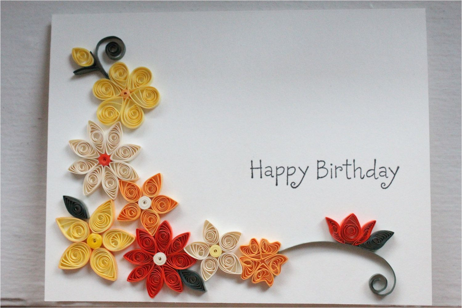 Greeting Card Designs Handmade Paper Handcrafted Birthday Card with Paper Quilled Flowers