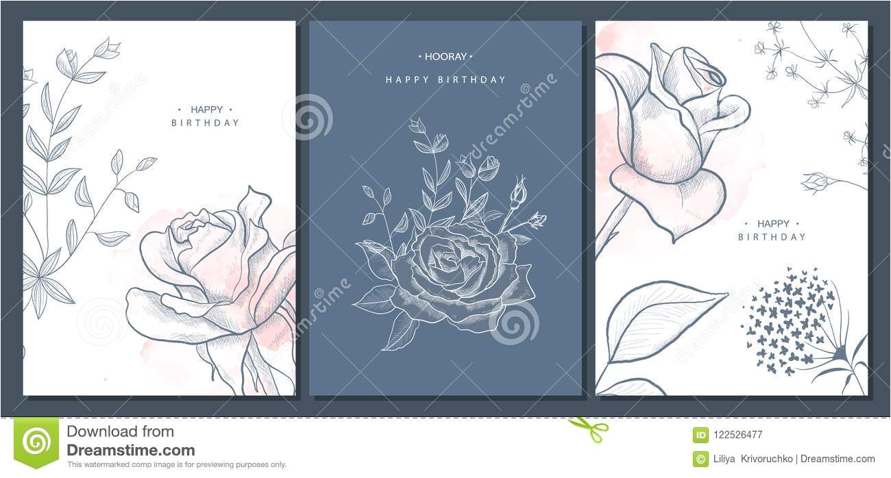 happy birthday greeting cards hand drawn flowers vector illustration trendy background modern set abstract happy birthday 122526477 jpg