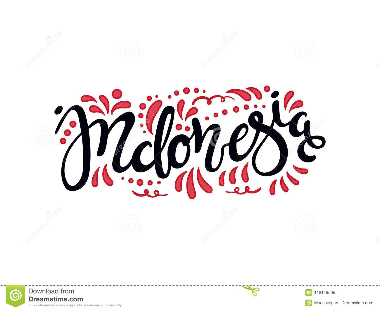 hand written calligraphic lettering quote indonesia decorative elements flag colors isolated objects white background 118149505 jpg
