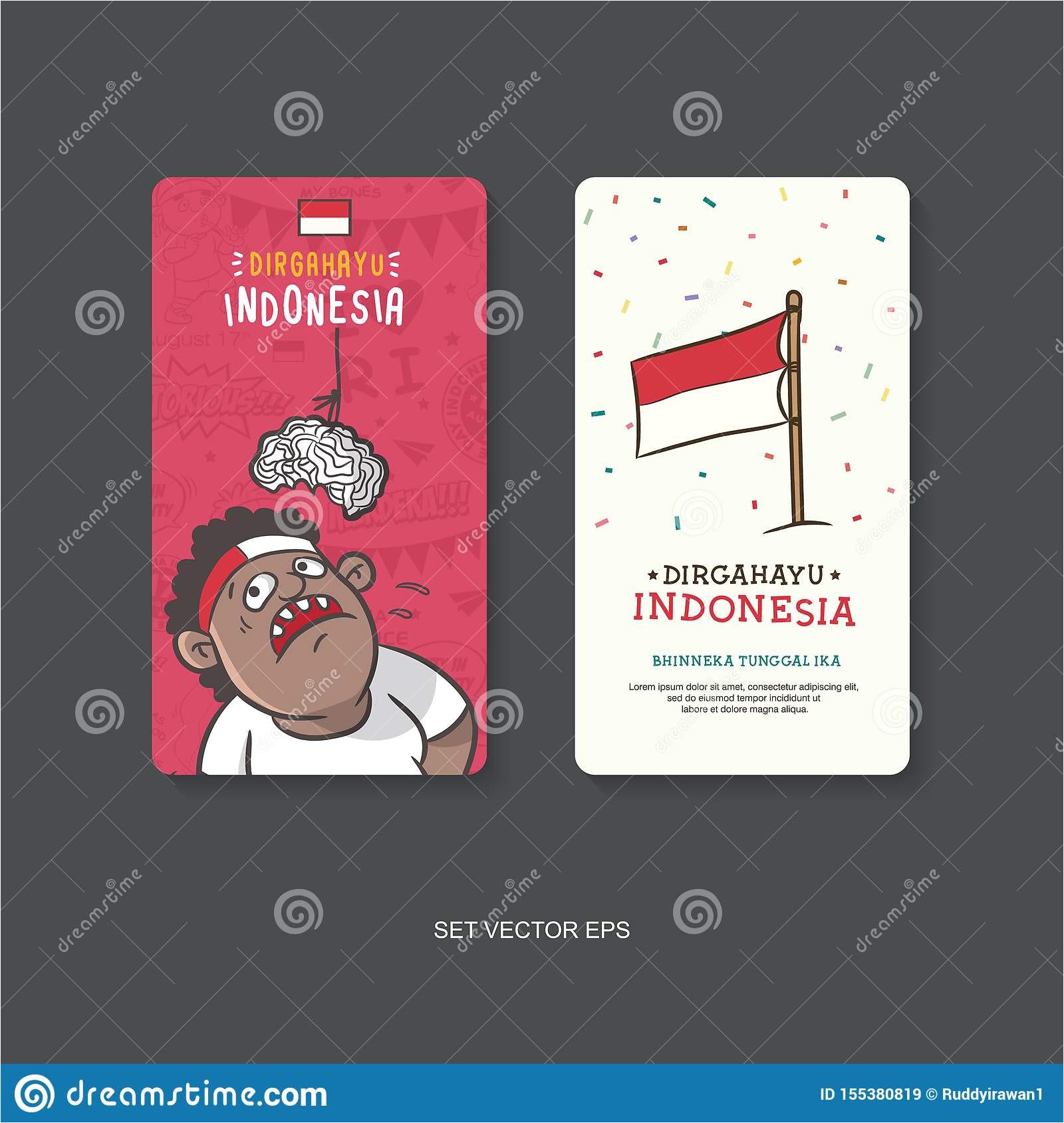 cute boy eat crackers flag illustration card poster vector design dirgahayu mean celebration bhinneka tunggal ika mean 155380819 jpg