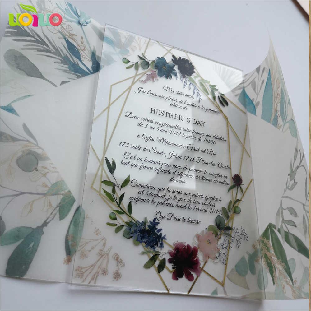 Greeting Card Materi Kelas 8 5pcs Hot Sell 2020 Wedding Favor Customize Printing Acrylic Wedding Invitation Card Birthday Card with Transparent Paper Wrapper