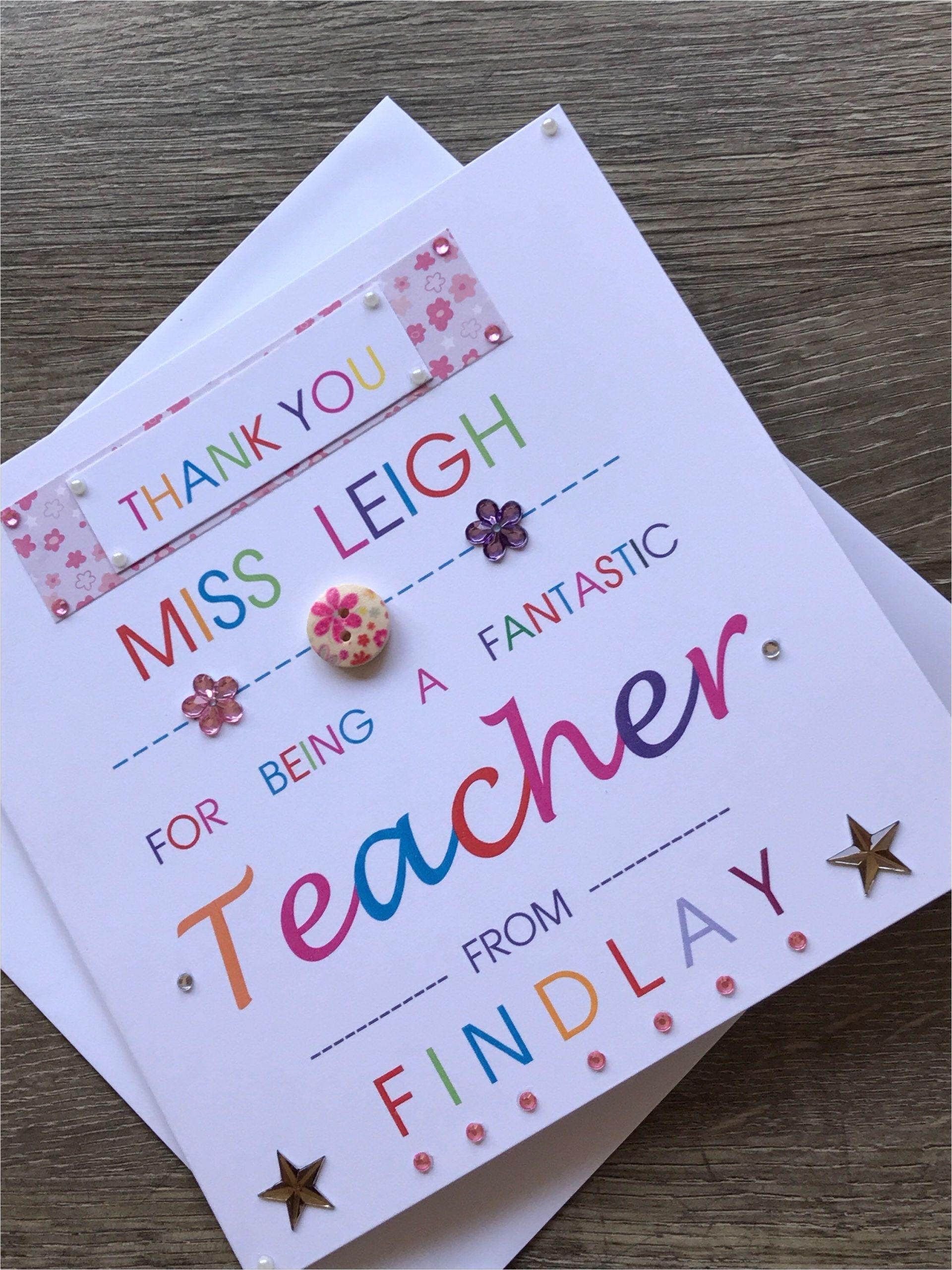 Handmade Card for Teacher Appreciation Thank You Personalised Teacher Card Special Teacher Card