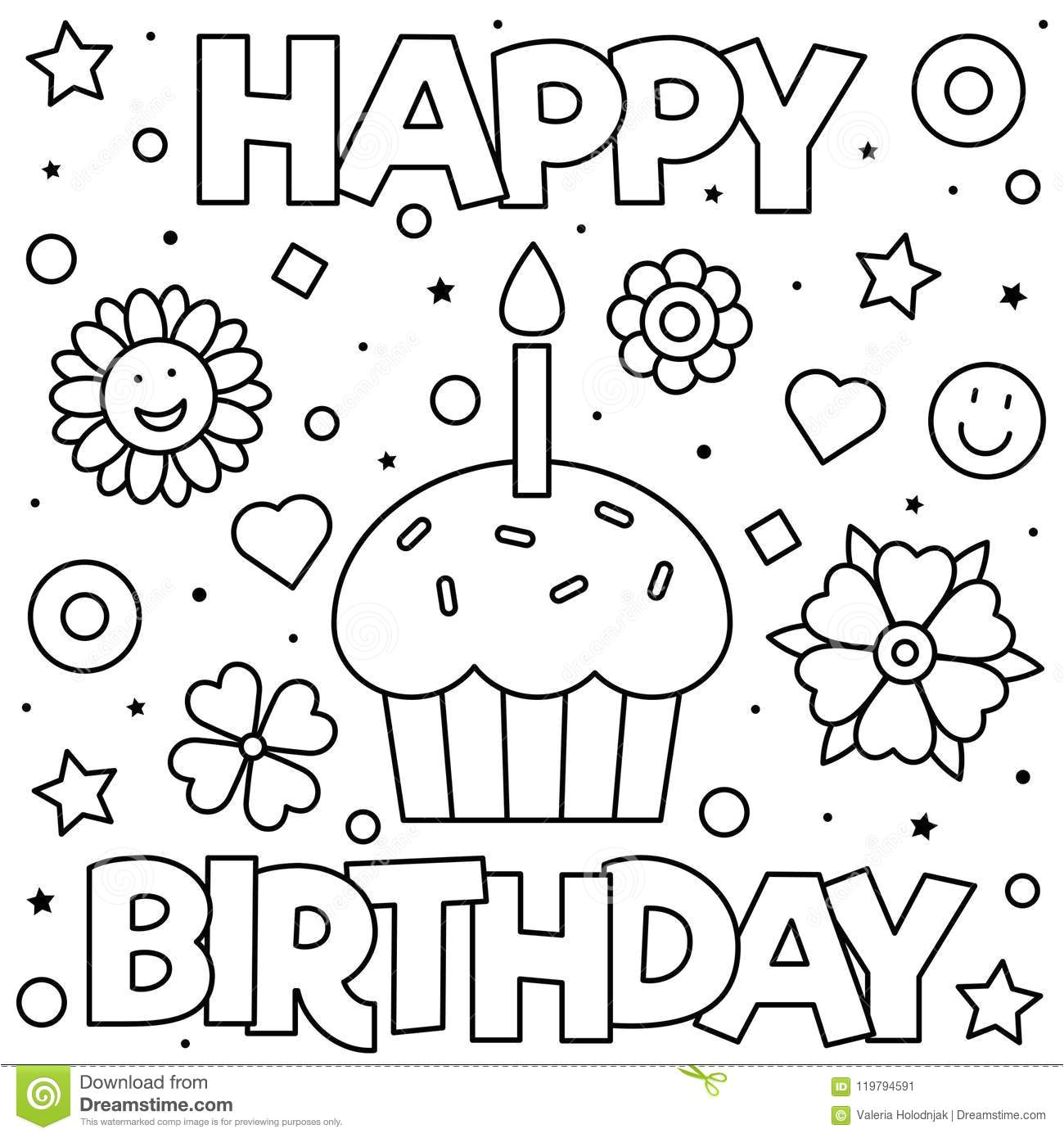 happy birthday coloring page black white vector illustration coloring page vector illustration 119794591 jpg