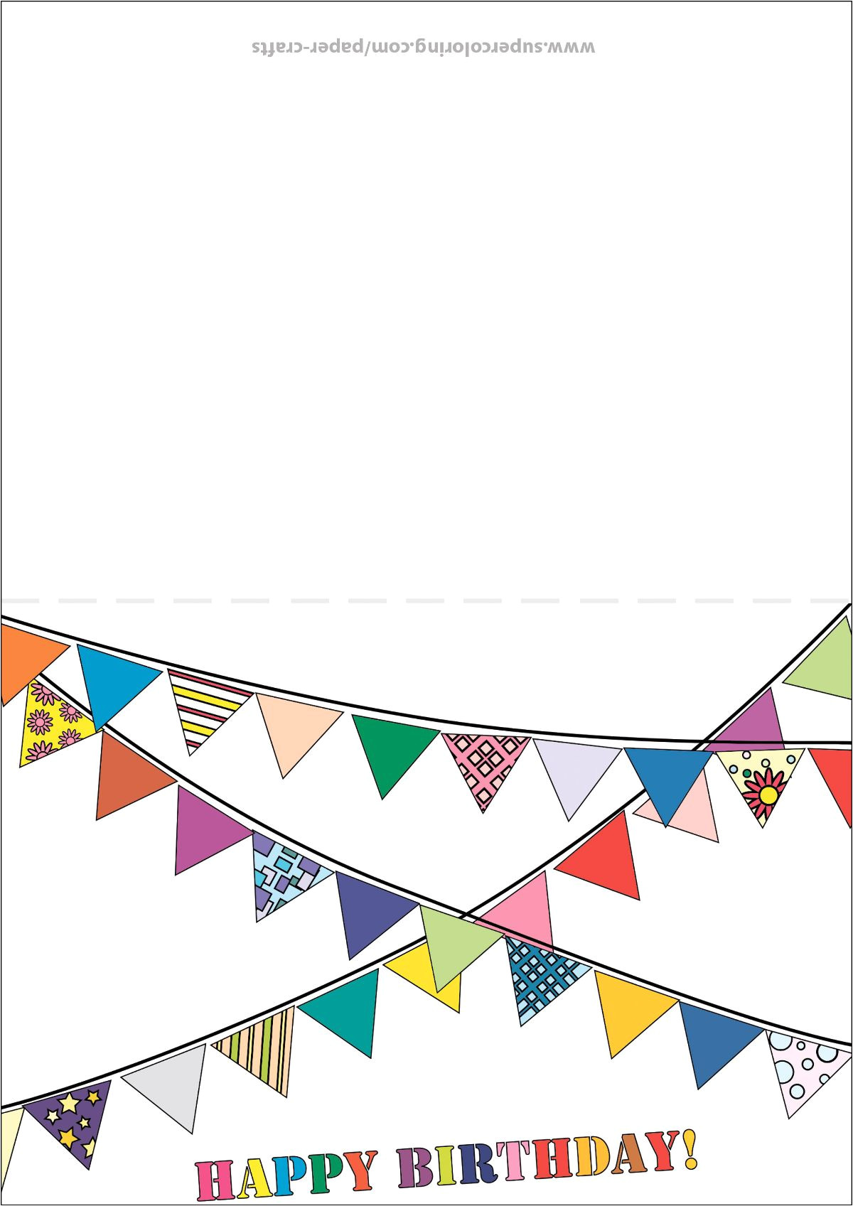 happy birthday card with bunting flags paper craft jpg