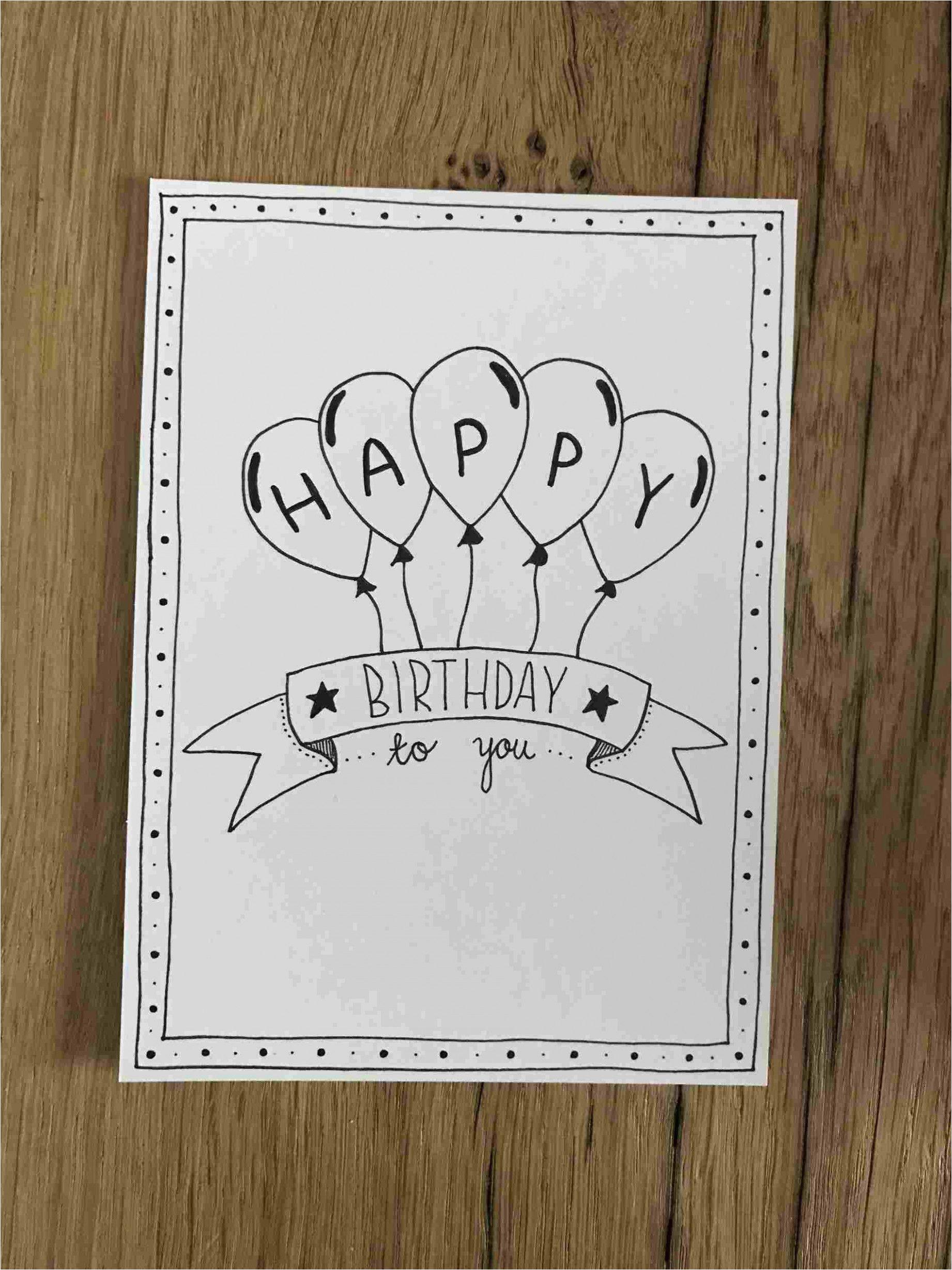 Happy Birthday Card Design Drawing Pin Auf Geburtstagskarten