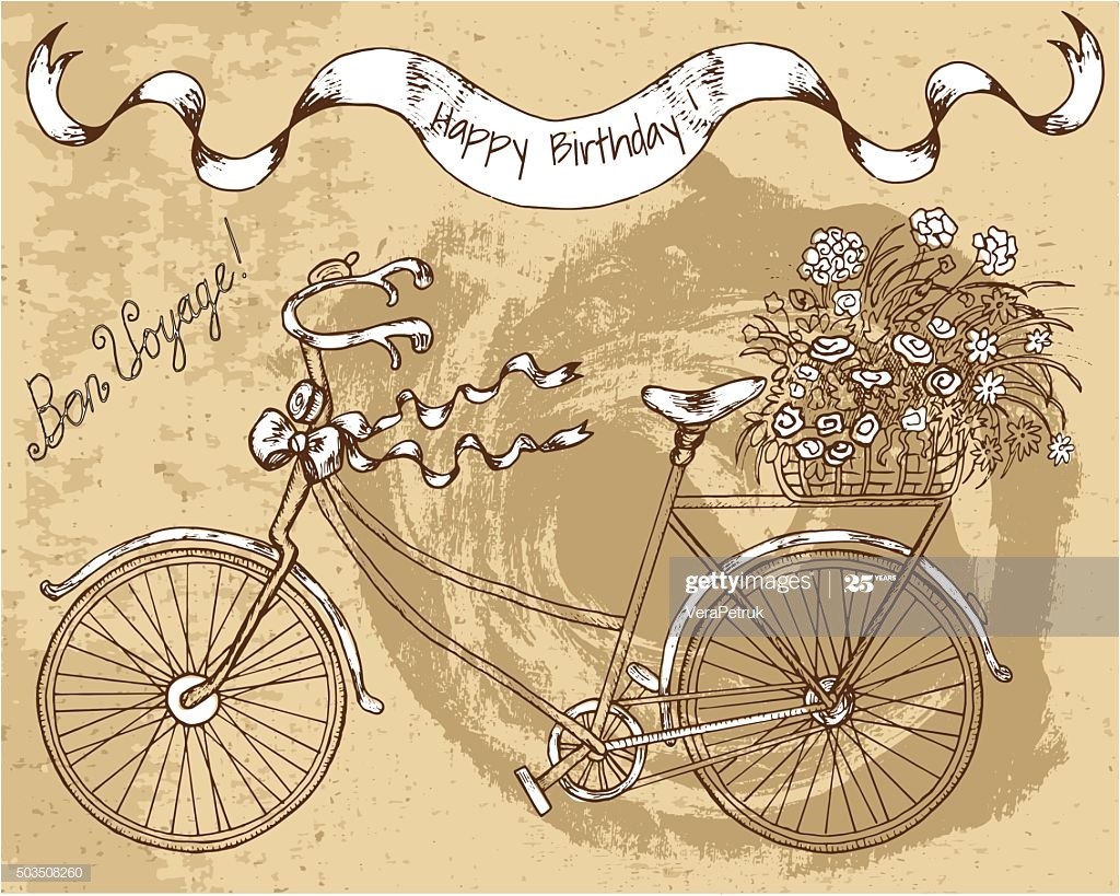 happy birthday card with old bicycle and flowers vector id503508260