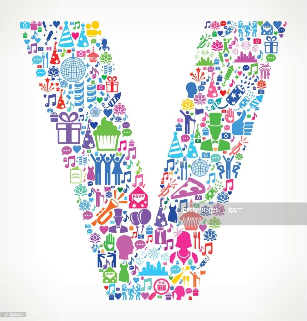 letter v happy birthday celebration vector icon pattern vector id810228008