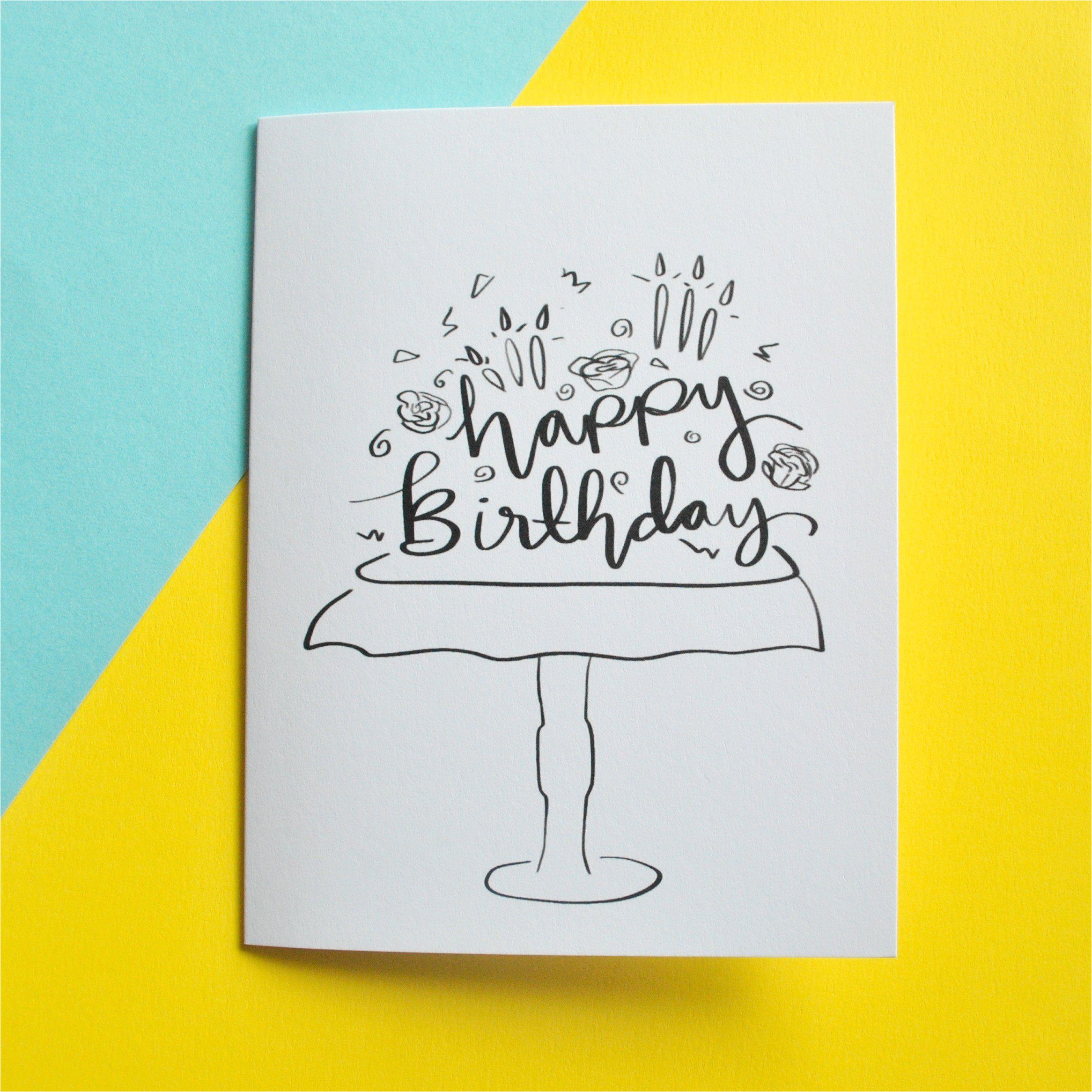 Happy Birthday Card On Pinterest Black and White Cake Happy Birthday Card with Images