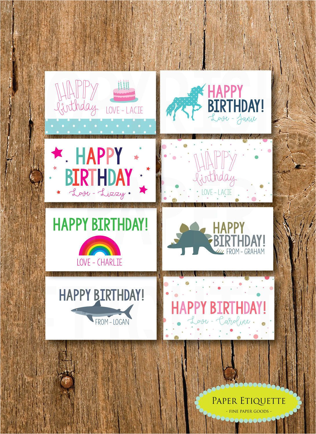 Happy Birthday Gift Card with Name Personalized Gift Enclosure Card Mini Birthdaycards