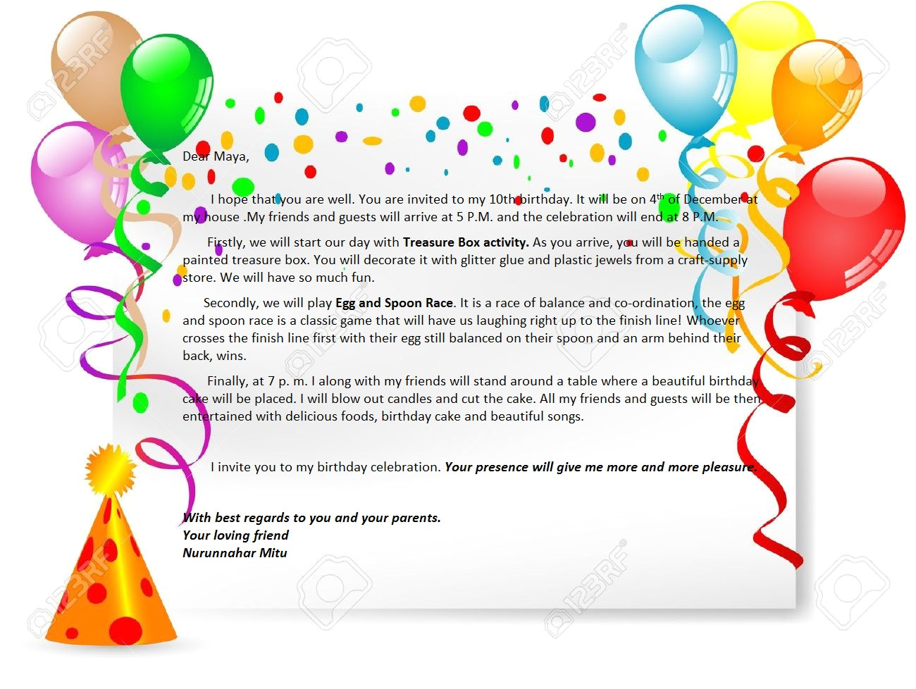 Happy Birthday Invitation Card In English Birthday Party Invitation Letter English for Life
