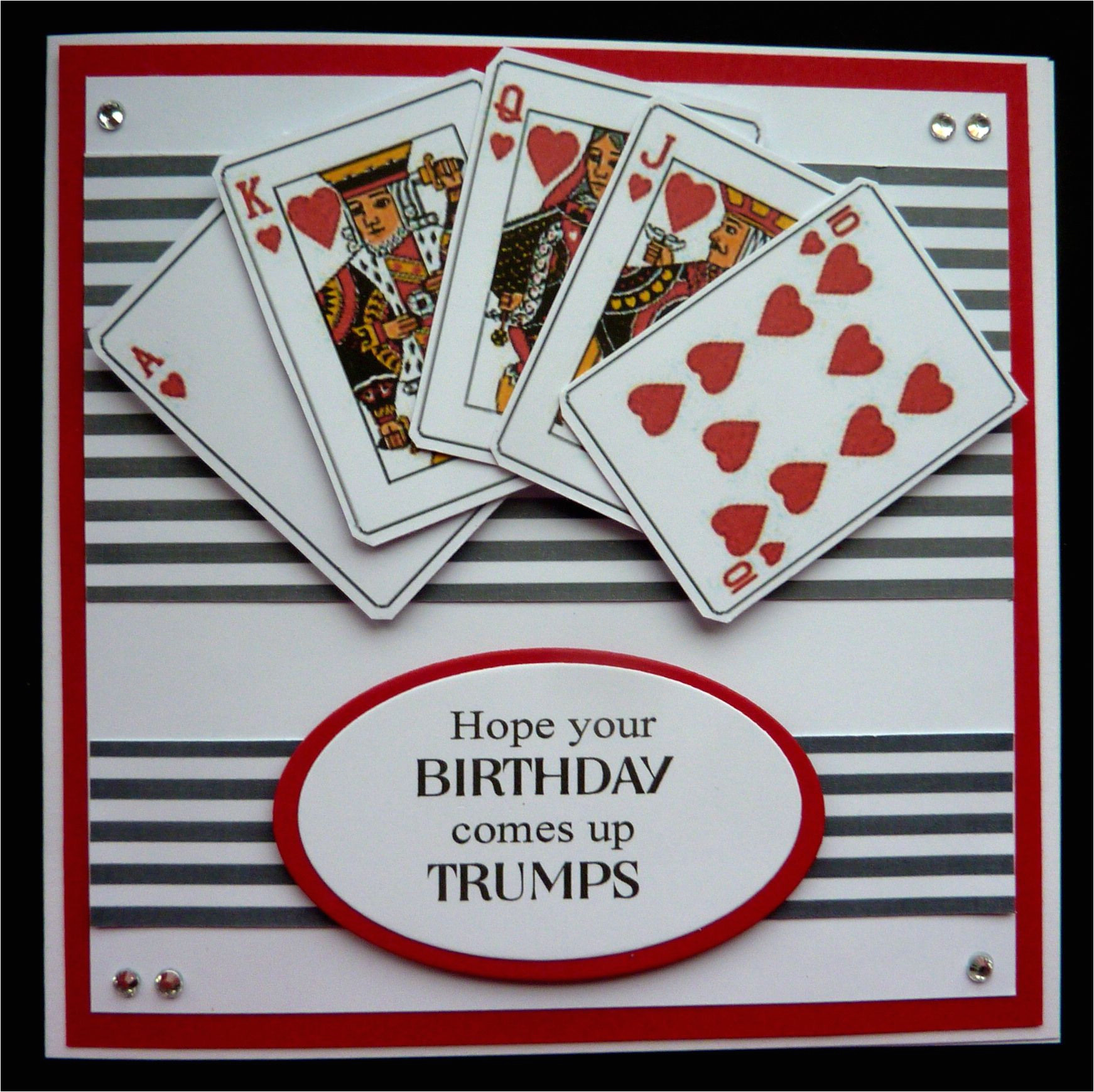 Happy Birthday Wishes Card with Name S459 Hand Made Birthday Card Using Playing Card Images